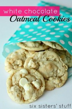 White Chocolate Chip Oatmeal Cookies from SixSistersStuff.com. These cookies are so soft and chewy! #cookies #whitechocolate
