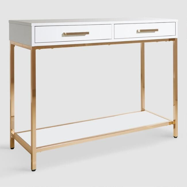 White And Gold Reid Console Table With Drawers V1 Modern Console Tables Modern Console White Console Table