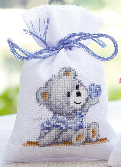 Buy Birth Teddy Bag Cross Stitch Kit Online at www.sewandso.co.uk