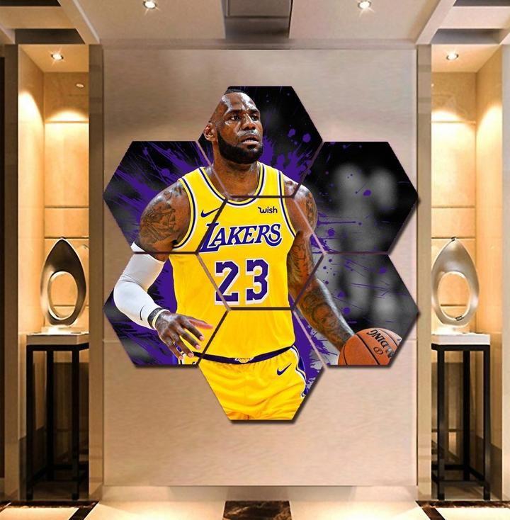 Lakers Lebron James Wall Art Hexagon Home Decor Print Poster