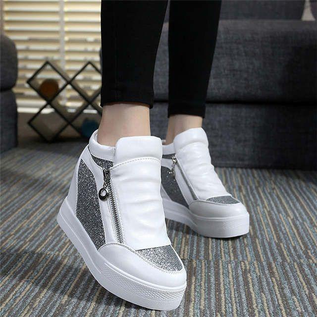 Marca de moda Calzado casual para mujer Plataforma de encaje blanco Zapatos de corteza gruesa para mujer Top alto Cuña oculta Zapatillas de deporte para mujer SDGV   – shoes