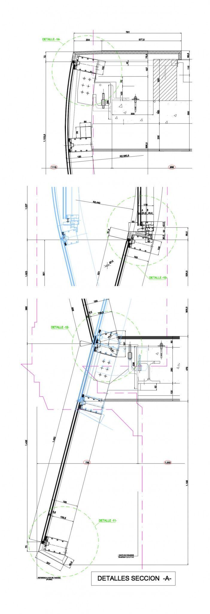 Detalle constructivo de fachada modular para la construcción de 12 viviendas en la calle Hurtado Amezaga