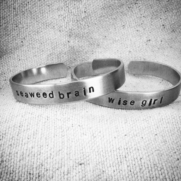 wise girl and seaweed brain: Hand Stamped SET of Aluminum Percy Jackson/Annabeth Chase Cuffs for percabeth shippers (£25) found on Polyvore featuring percy jackson and jewelry