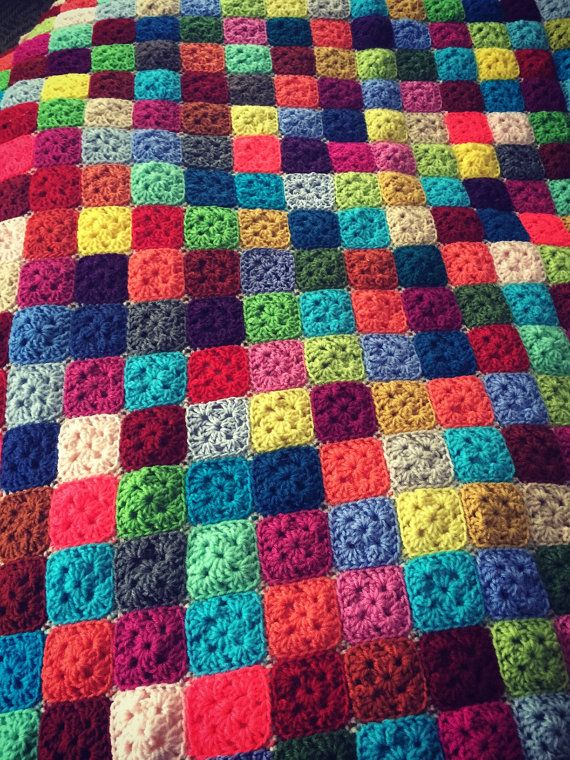 Tiny Squares Granny Square Throw Blanket Bright By