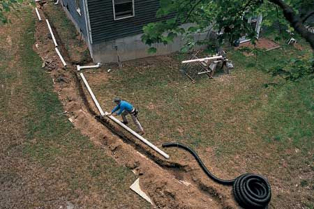 Connecting downspouts to buried drainpipes can help dry out a wet basement and soggy lawn. We show you how here. | Photo:  | thisoldhouse.com