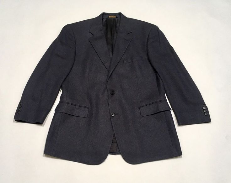 BROOKS BROTHERS Blazer 43R Navy Blue Wool Silk Linen Sports Coat Suit Jacket #BrooksBrothers #TwoButton