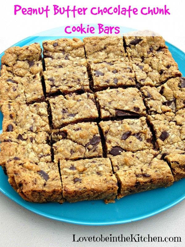 Peanut Butter Chocolate Chunk Cookie Bars -- One bowl, mix, cool, eat ...