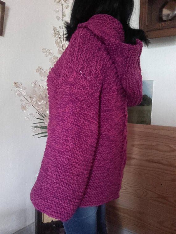 Pull large à capuche  fuchsia/mauve-violet