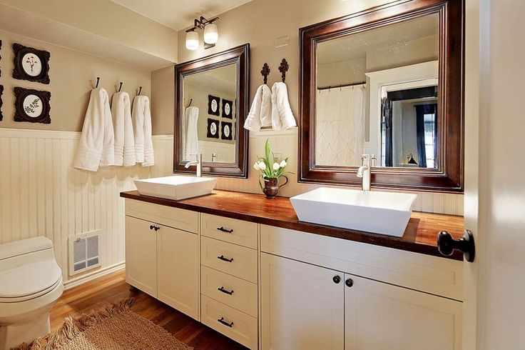 Small Bathroom Designed With Wainscoting And White Cabinets Also Rectangular Vessel Sinks : The Vessel Sink Continues To Be A Popular Choice For A Bathroom