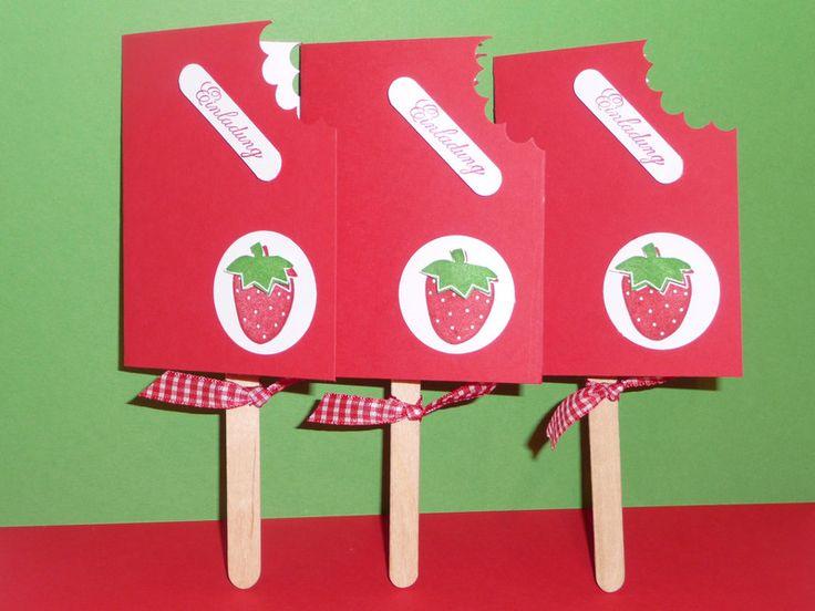 3 EINLADUNGSKARTEN ,Eis Am Stiel.Erdbeere