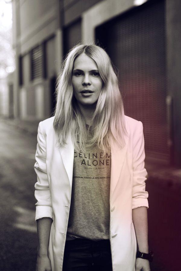 Celine tee + white blazer.