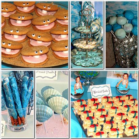 Mermaid Party: Sea Themed, Little Mermaids, Clams Cookies, Mermaids Party, Party Snacks, Snacks Idea, Mermaids Birthday Party, Party Idea, Themed Party
