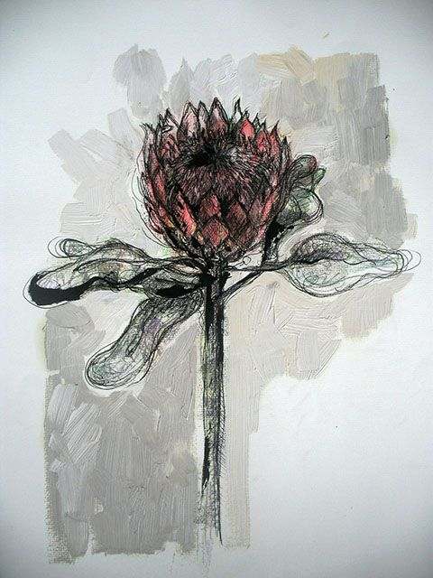 Title: Protea 4 Medium: Mixed media on paper: Printing ink and thinners/Chalk pastel/Pen and ink/Oil paint Size: 595mm x 420mm