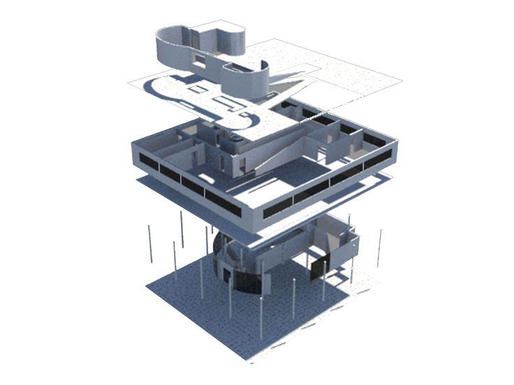 villa savoye / 3D max / exploded axonometric