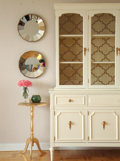 Diy hutch makeover paint wallpaper my future home for Painted dining room hutch ideas