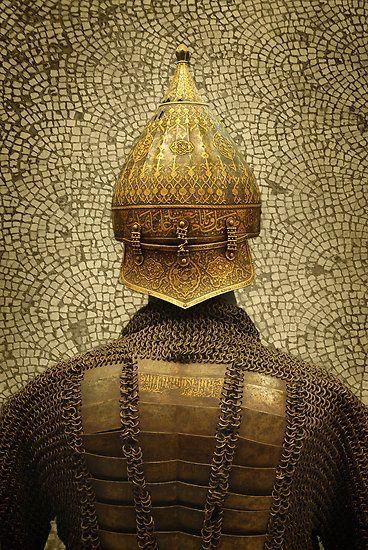 Armure Ottomane avec casque exposé au Musée de Topkapi à Istanbul en Turquie