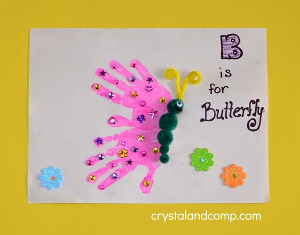 hand print art b is for butterfly - Printing Pictures For Kids