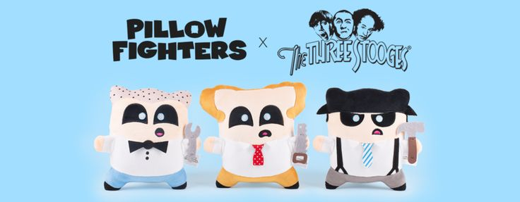 Introducing The Three Stooges PillowFighters®. Get your soft and cuddly Larry, Moe, and Curly in time for #ValentinesDay #ThreeStooges