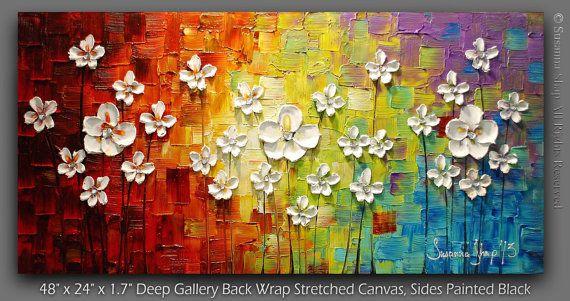 ORIGINELE Acryl schilderij muur kunst bloemen door ModernHouseArt