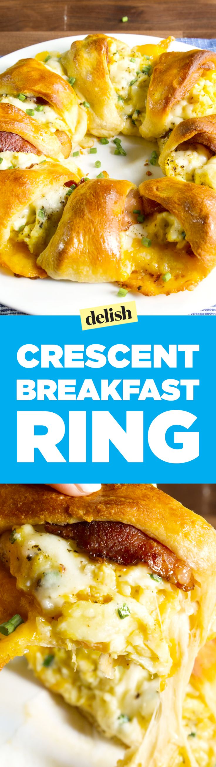 Our crescent breakfast ring is like making 10 breakfast sandwiches, all at once. Get the recipe on Delish.com.