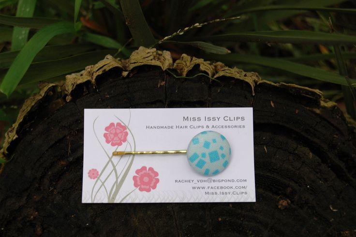 Blue button hair pin