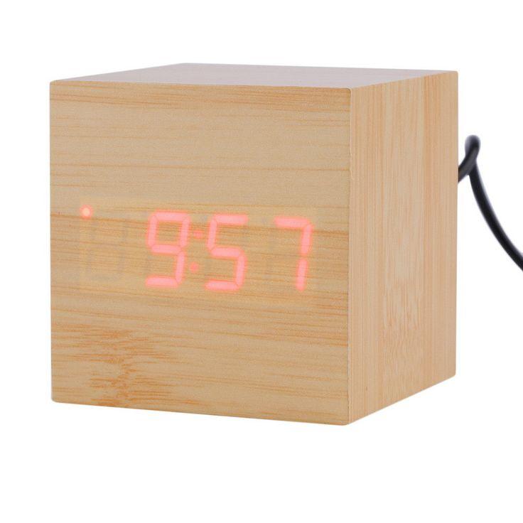 1 pcs 4 colors Modern Wood style Digital LED Desk Alarm Clock Thermometer Timer Calendar free shipping Brand New