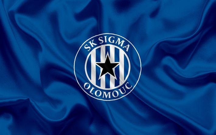 Descargar fondos de pantalla SK Sigma Olomouc, club de Fútbol, Olomouc, República checa, Sigma emblema, logotipo, azul, bandera de seda, checa el campeonato de fútbol