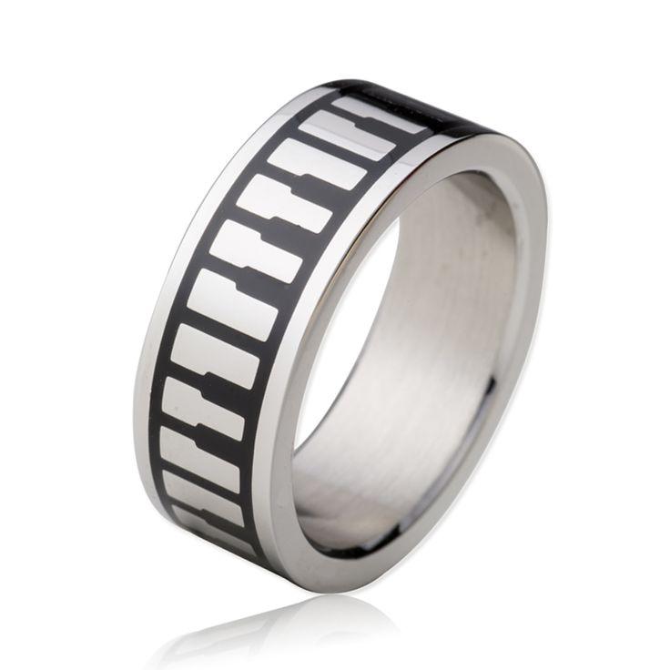 Christian Keyboard Piano Pattern Ring 316L Stainless Steel Music Keys Forgiven Jewelry