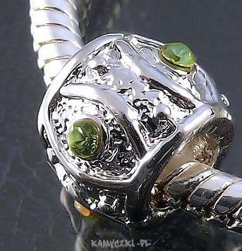 Biżuteria Modułowa Beczułka 7/11mm z zielonymi cyrkoniami - Półfabrykaty jubilerskie, narzędzia jubilerskie, elementy srebrne i perły