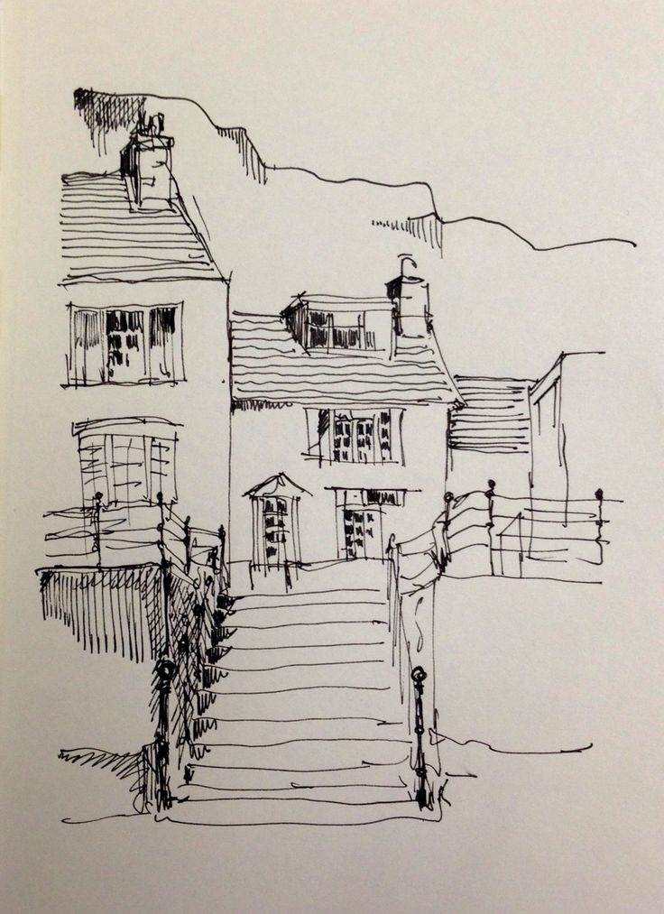 Harbour front cottages in Staithes, North Yorkshire: this is my original line sketch