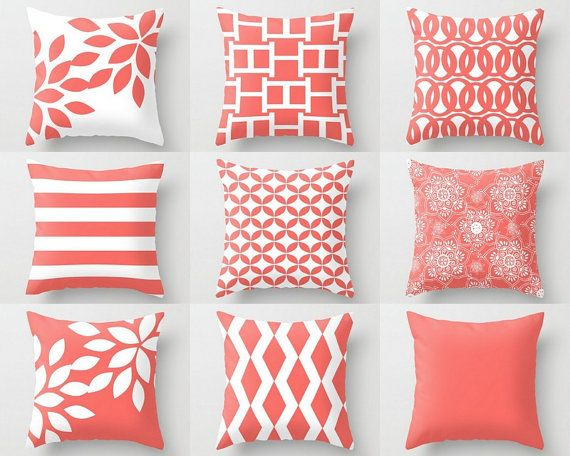 coral pillows decorative pillow pillow cover coral throw pillow accent pillow bedding coral euro cushion cover m35