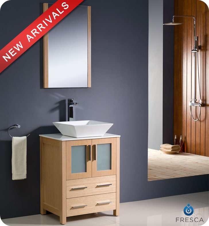 "Fresca Torino 24"" Light Oak Modern Bathroom Vanity w/ Vessel Sink - BathroomVanitiesOnly.com"