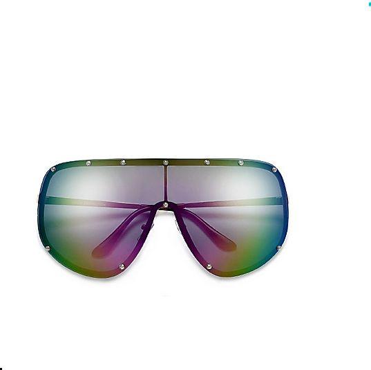 Polarized Studded Oversize Shield Pink Rainbow Sunglasses