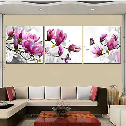 prints poster paarse roze blauwe bloem kunst huis decoratieve foto's afdrukken op doek 3pcs / set (zonder lijst) 3875012 2016 – €30.37