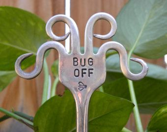 BUG OFF Funky fork - garden marker - twisted fork tines - hippie garden art - re purposed flatware turned into plant decorations - bee bug