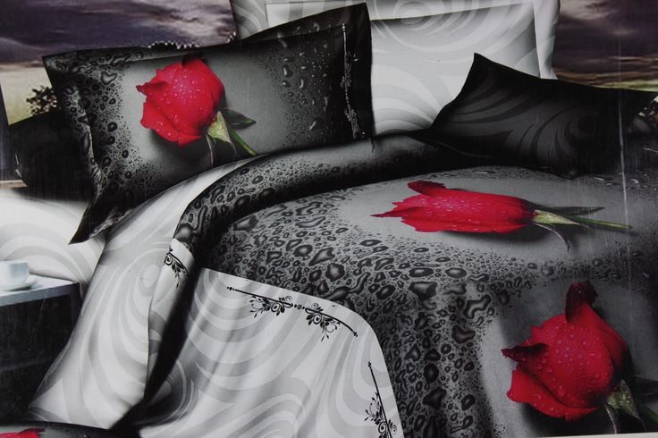 Don't give a second thought in ordering this pretty King Size bed sheet set of size 275*275cm. It is just perfect to add the beauty and freshness to your bedroom. The great match of black and grey color with three beautiful red roses makes the sheet more unique, very charming and pleasant to your senses. Definitely , will impress your friends and family !! The fine quality cotton fabric is great for use in all season types and is easy to wash and maintain.