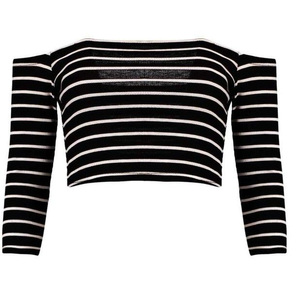 Andrea Striped Bardot Rib Crop Top ❤ liked on Polyvore featuring tops, shirts, crop top, black shirt, shirt crop top, black stripe top and striped top
