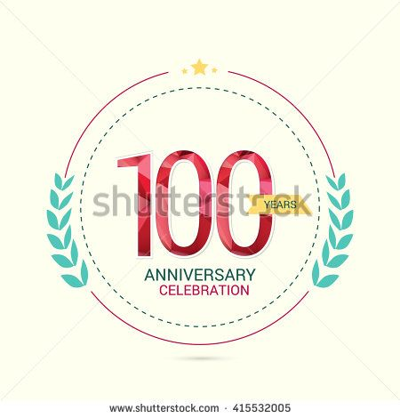 100 Years Anniversary with Low Poly Design and Laurel Ornaments