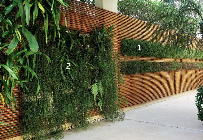 muro baixo não escondia a visão da casa do vizinho( e a sua)... desta  maneira fica mais leve,decorativo ,permite a passagem de ventos,é original ,e pode facilmente ser variado o painel com diferentes plantas .
