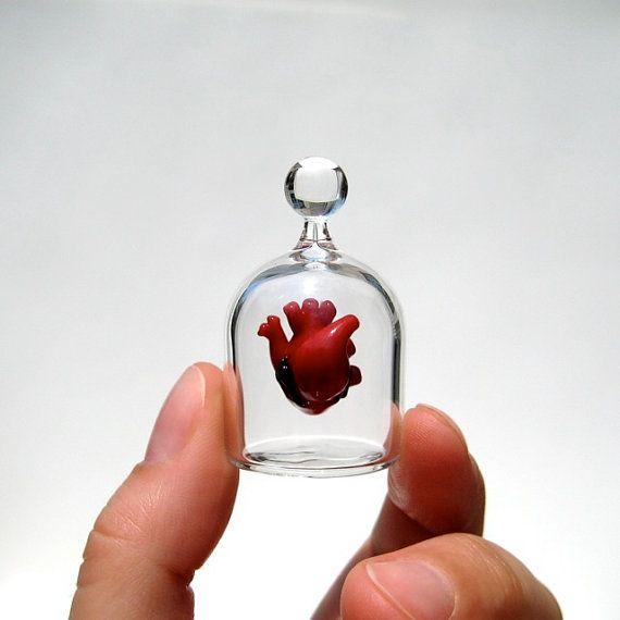 Anatomique coeur dans un bocal, main soufflé verre Miniature, corriger anatomiquement coeur