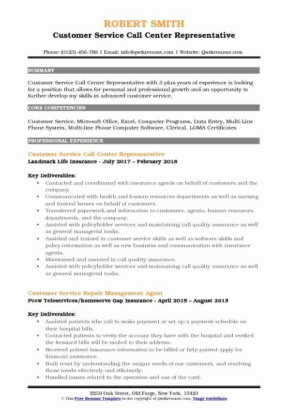 25 Call Center Customer Service Representative Resume Sales