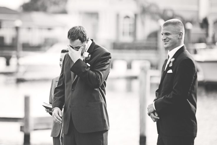 Crying groom!  Groom tears up as he sees his bride | photos by http://www.luxetamor.com | see more http://www.thebridelink.com/blog/2013/07/03/soft-pink-wedding-in-florida/ #pinkweddings #pink
