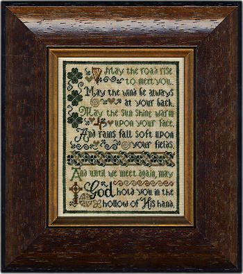 Erica Michaels Olde Irish Blessing - Cross Stitch Pattern. Model stitched on 40 ct Silk Gauze, provided in chartpack. Stitch count 132x164 & using Gentle Arts f