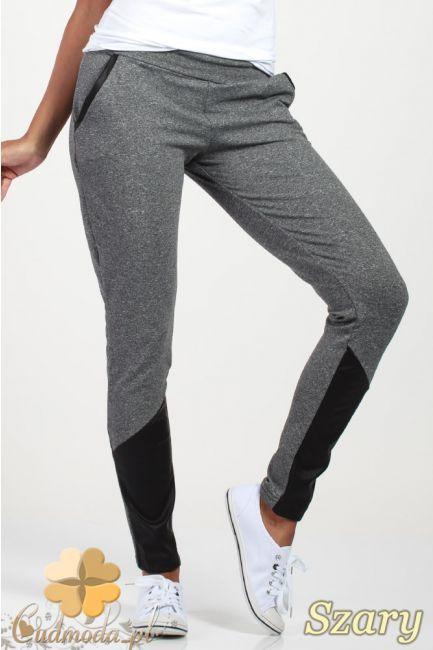 Elastyczne spodnie dresowe ze wstawkami z ekologicznej skóry  marki Paulo Connerti.  #cudmoda #moda #ubrania #odzież #spodnie #leginsy #legginsy #hosen #pants