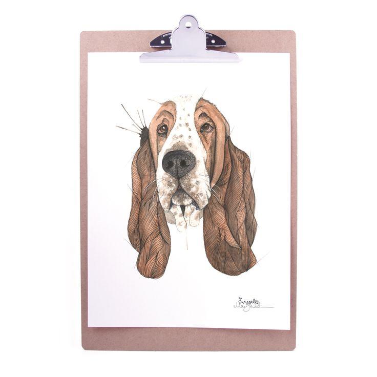 """Basset"" (Basset hound) Copyright: Emmeselle.no Illustration by Mona Stenseth Larsen"