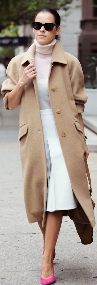 The camel coat, white and pink- classic combo