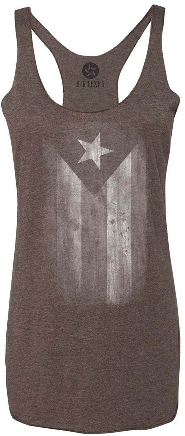 Faded Puerto Rico Flag White Tri Blend Racerback Tank