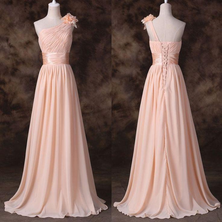 champagne společenské šaty pudrové na ples na jedno ramínko - plesové šaty, svatební šaty, společenský salón