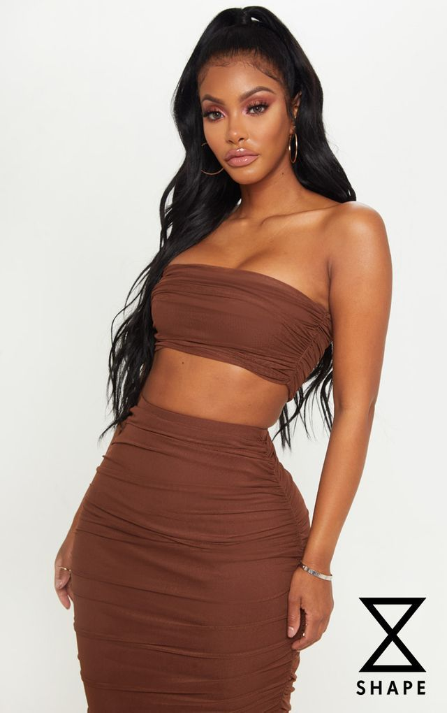 d53f9bc1e38c9 Shape Chocolate Brown Mesh Ruched Strappy Crop Top