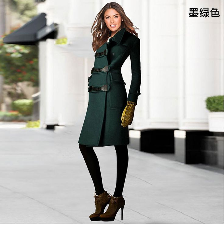 High Quality Turn-down Collar Button Thick Wool Long Coat